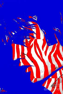 Painting - Elvis Red White And Blue Abstract by Saundra Myles