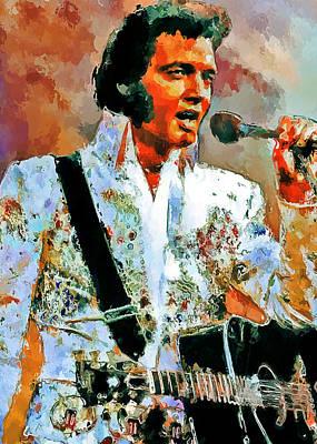 Concert Digital Art - Elvis Singing 2 by Yury Malkov