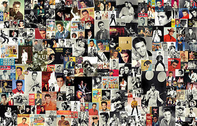 Collage Digital Art - Elvis The King by Taylan Apukovska