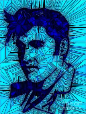 Painting - Elvis Turquoise Blue /1 by Saundra Myles