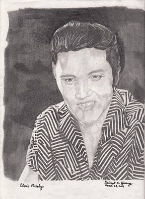 Paper Drawing - Elvis by Vincent Young