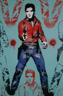 Stencil Art Painting - Elvis Warhol Stencil Painting by Leon Keay