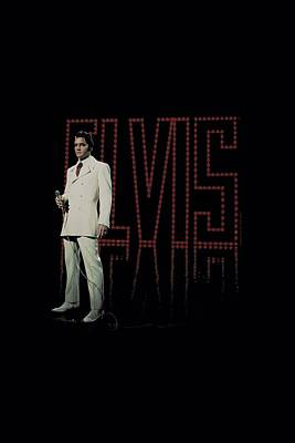 The King Digital Art - Elvis - White Suit by Brand A