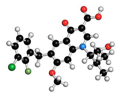 Elvitegravir Hiv Drug Molecule Art Print by Molekuul