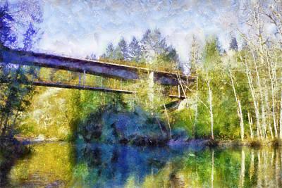 Olympic National Park Digital Art - Elwha River Bridge by Kaylee Mason