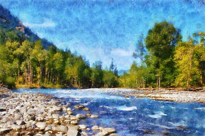Canoe Digital Art - Elwha River by Kaylee Mason