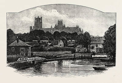 Person Drawing - Ely Cathedral, From The River by English School