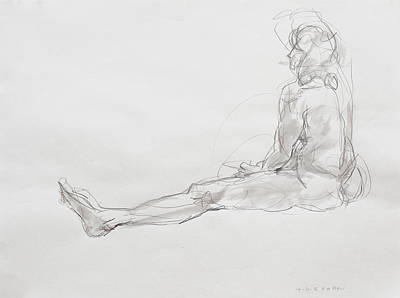 Hip Drawing - Elyn Seated On Floor by Andy Gordon