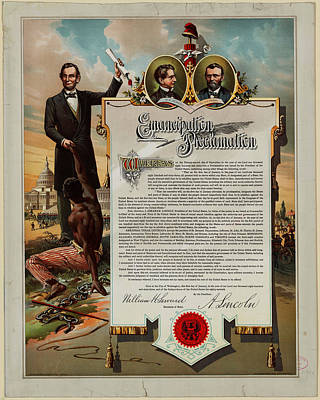Proclamation Painting - Emancipation And Proclamation by Celestial Images