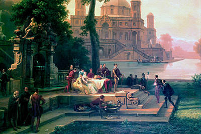 Crowds Painting - Emanuele Filiberto Receives Torquato Tasso In The Gardens Of The Park by Massimo D Azeglio