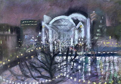Embankment Station, From The South Bank, 1995 Pastel On Paper Art Print by Sophia Elliot