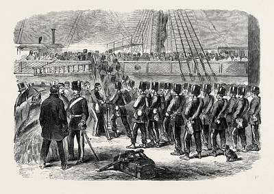 Divisions Drawing - Embarkation At Woolwich Of The E Battery Fourth Brigade by Canadian School