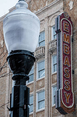 Photograph - Embassy Marque And City Lamp by Gene Sherrill