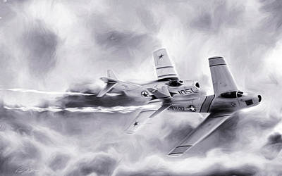 Dogfight Digital Art - Embattled Bw by Peter Chilelli