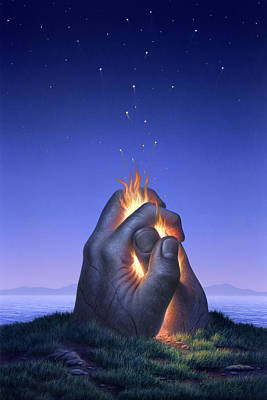 Mystical Landscape Painting - Embers Turn To Stars by Jerry LoFaro