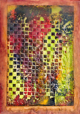 Mixed Media - Embossed Blocks Encaustic by Bellesouth Studio