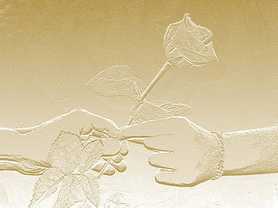 Embossed Gold Rose By Jan Marvin Studios Art Print