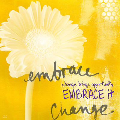 Yellow Daisy Wall Art - Painting - Embrace Change by Linda Woods