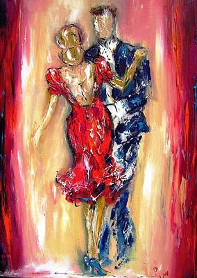 Stillettos Painting - Embrace Of The Dance by Mary Cahalan Lee- aka PIXI