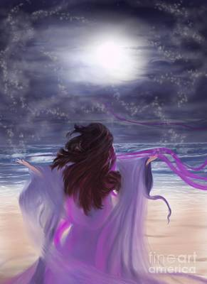 Painting - Embracing Luna  by Roxy Riou