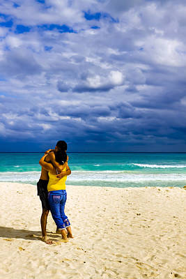Latina Photograph - Embracing On A Beautiful Caribbean Beach by Mark E Tisdale