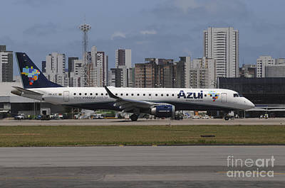 Embraer 190 From Azul Brazilian Art Print by Riccardo Niccoli