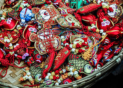 Photograph - Embroidered Ornaments by Karen Saunders