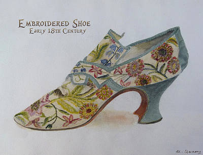 Social History Painting - Embroidered Shoe - Early 18th Century by Mary Quarry
