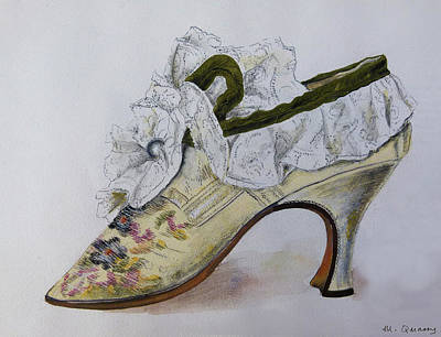 Social History Painting - Embroidered Silk And Lace Shoe - 17th Century by Mary Quarry