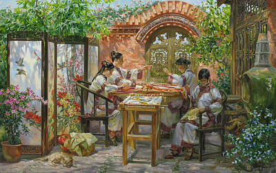 Embroideresses In Sichuan Province Art Print by Victoria Kharchenko