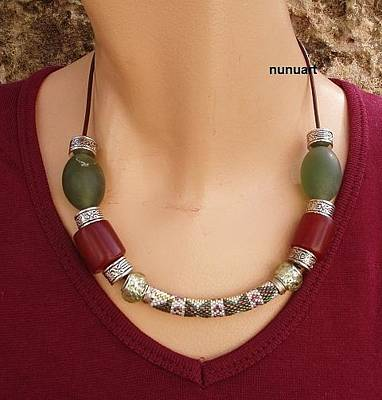 Silver Component Jewelry Jewelry - Embroidery Beads With Jade And Metal On Leathe Strip by Nurit Schlomi von-strauss