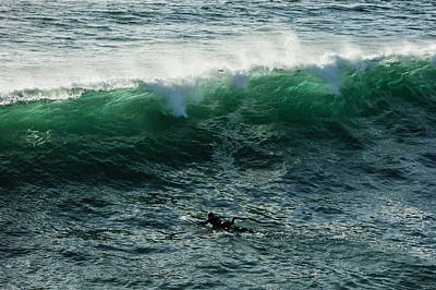 Blueish Photograph - Emerald California Surfing - La Jolla San Diego California  by Georgia Mizuleva