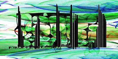 Drawing - Emerald City 7846b by Mickey Harris