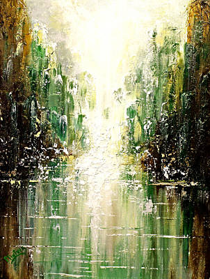 Art Print featuring the painting Emerald City Falls by Patricia Lintner