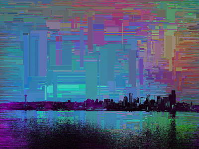 Digital Art - Emerald City Skyline Cubed by Tim Allen