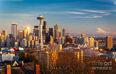 Winter Light Photograph - Emerald City Sunset by Inge Johnsson