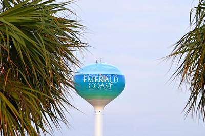 Wine Corks Royalty Free Images - Emerald Coast of Florida Water Tower with Palms Royalty-Free Image by Jeff at JSJ Photography