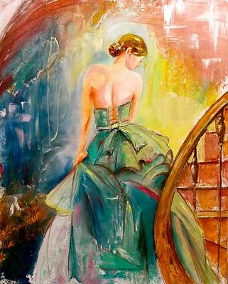Staircase Painting - Emerald Dress by Marina Wirtz