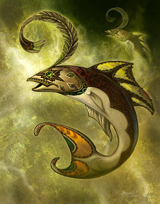Sea Creatures Painting - Emerald Fish by Jeff Haynie
