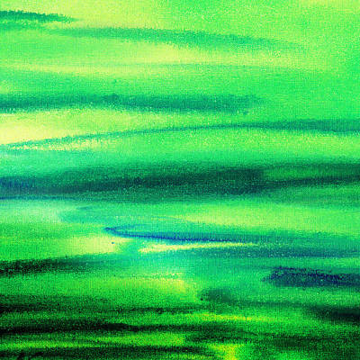 Emerald Green Abstract Painting - Emerald Flow Abstract I by Irina Sztukowski