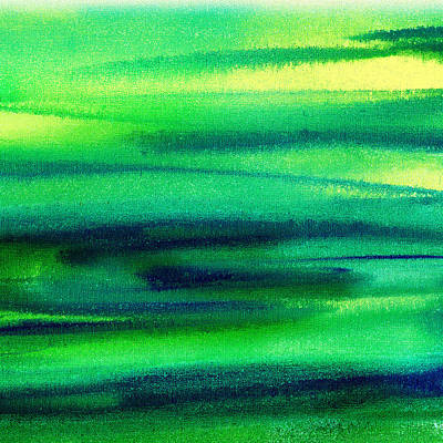 Abstract Pattern Painting - Emerald Flow Abstract II by Irina Sztukowski
