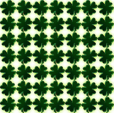 Digital Art - Emerald Green St. Patrick's Day Shamrocks by Shelley Neff