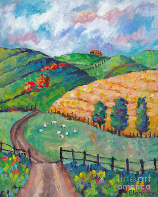 Painting - Emerald Hills Right Panel Of Triptych by Peggy Johnson