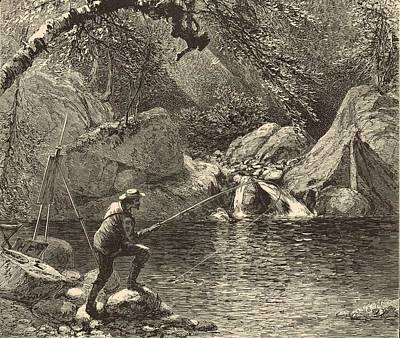 Maine Roads Drawing - Emerald Pool At Peabody River Glen 1872 Engraving by Antique Engravings