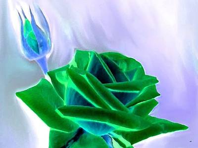 Digital Art - Emerald Rose Watercolor by Will Borden