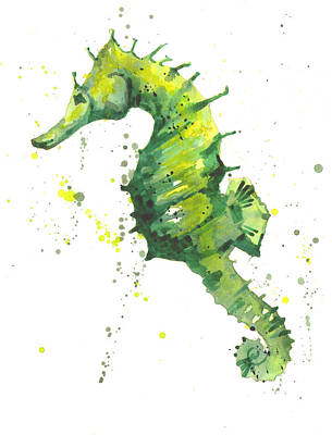 Bathroom Art Painting - Emerald Seahorse by Alison Fennell