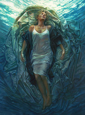 Blue Water Painting - Emerge Painting by Mia Tavonatti