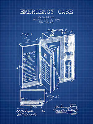 Emergency Case Patent From 1904 - Blueprint Art Print by Aged Pixel