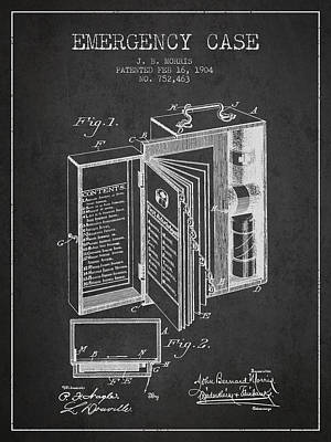 Emergency Case Patent From 1904 - Charcoal Art Print by Aged Pixel