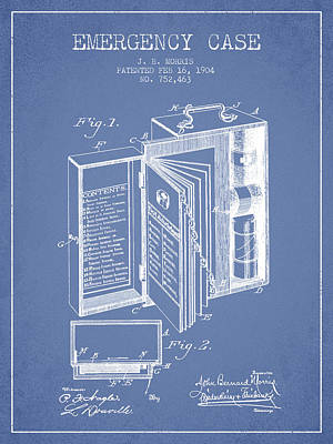 Emergency Case Patent From 1904 - Light Blue Art Print by Aged Pixel
